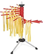 Navaris Collapsible Pasta Drying Rack - Tall Spaghetti Noodle Dryer Stand for up to 4.5 lbs of Homemade Noodles - Black
