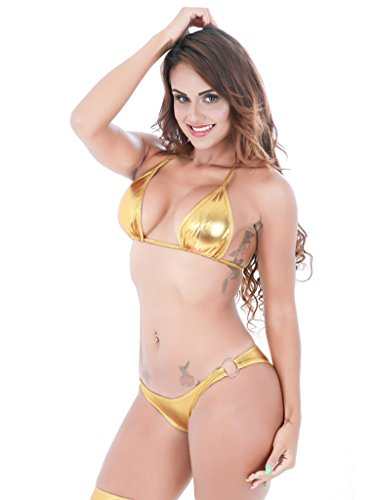 Holly Gibbons Womens Halter Ring Side Bottom Triangle Bikini 2 Pieces