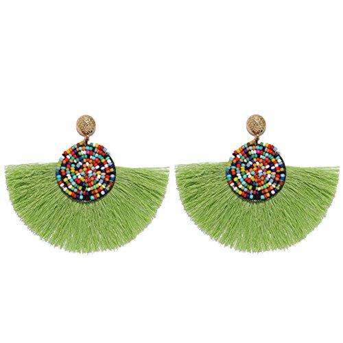 MOOCHI Women Colorful Round Semi-Circle Bohemian Beaded Drop Tassel Hoop Dangle Earrings Lime Green ()