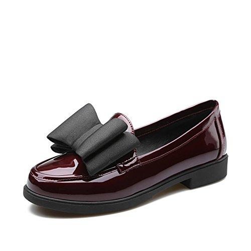 A en viento zapatos arco charol tacón mujeres de casual zapatos cabeza Redonda College primavera EOdnwq