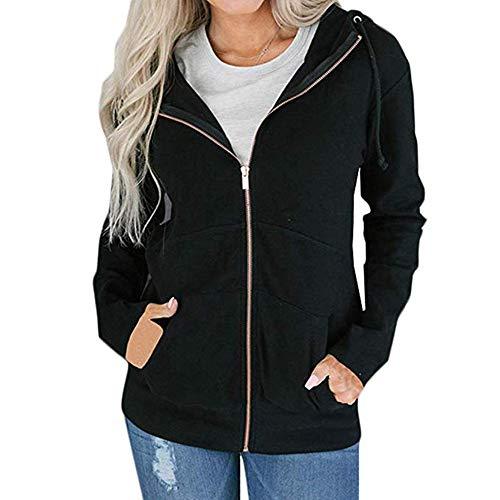 Da Giacche Warm Nero Outwear Con Cerniera Cardigan Cappuccio Hellomiko Coat Sweatshirts Donna q4nZgqd