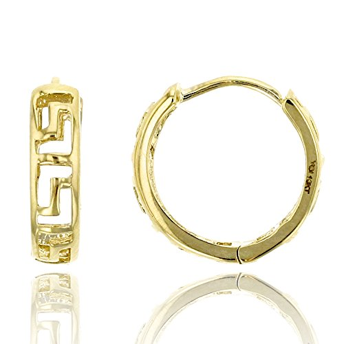 - 10K Yellow Gold High Polished 3.00x11.00mm Greek Key Huggie Earring