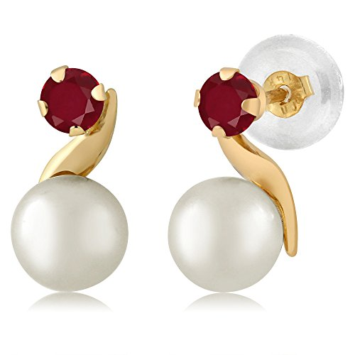14K Yellow Gold 0.28 Ct Round 3mm Red Ruby Cultured Freshwater Pearl Earrings ()