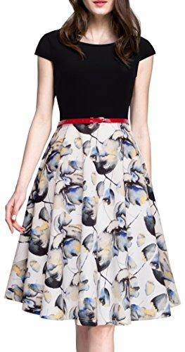 HOMEYEE-Womens-1950s-Vintage-Elegant-Cap-Sleeve-Swing-Party-Dress-A009