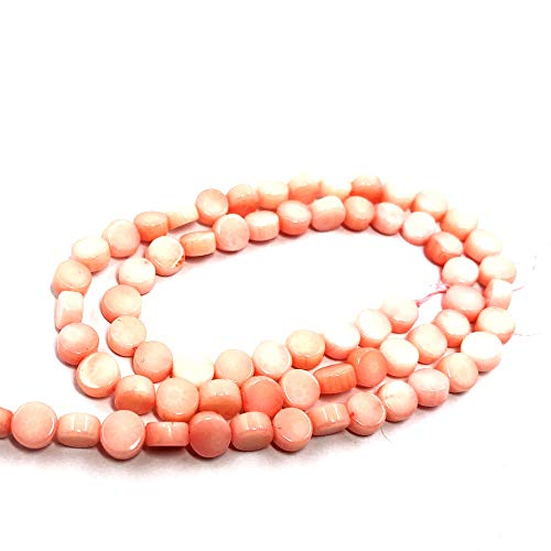 (TheTasteJewelry 3x6mm Flat Round Pink Coral Beads 15 inches 38cm Jewelry Making Necklace Healing Power)