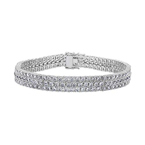 (DIAMONBLISS Rhodium Plated Sterling Silver 13.5 ct Cubic Zirconia Tennis Bracelet, 7.25'')