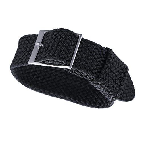 20mm Black Nato Ballistic Nylon Perlon Watch Bands 1 piece for Men's Luxury Watches Braided Textile (Dior Buckle)