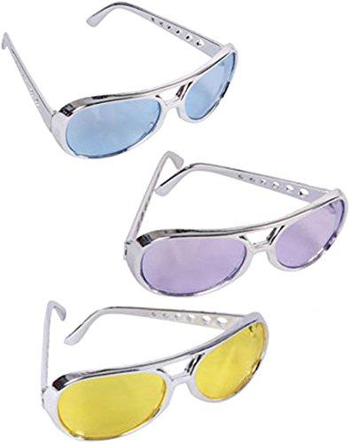 BlockBuster Costumes Custom Bundle Set Of 12 Blue Purple and Yellow Lens Silver Frame Elvis Rock Star - Style Elvis Sunglasses Presley