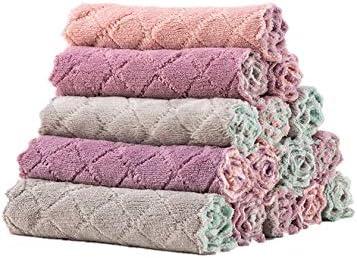 Dubbel dikker Koraal Fluwelen Doek Handdoek Keuken Handdoeken Doek Thuis Levert Doek Microfiber Sterke Wateropname Reinigingsdoekje 5 stks