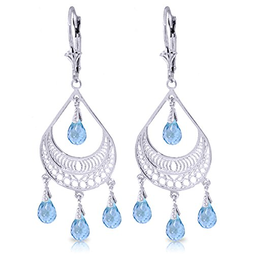 6.75 Carat 14K Solid White Gold Summer Rain Blue Topaz Earrings by Galaxy Gold