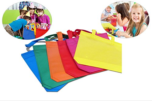 Tote Gift Bags with Handles - Mega pack of 24 - Polyester Non-Woven Material - Bright and Assorted C