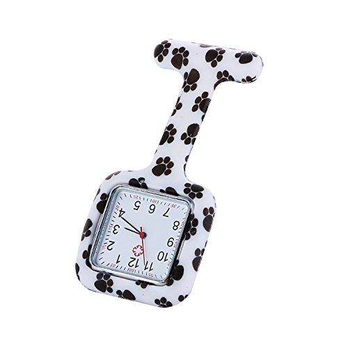 (Lightweight Alarm ClockTravel Alarm Clock Nurses Square Paw Prints Watch Silicon Rubber Clip Strap Pin Brooch Tunic Fob Watches Black)