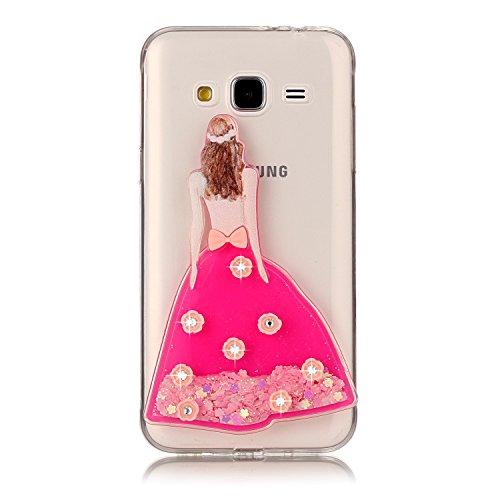 Funda Galaxy J3 2016, Caselover 3D Bling Silicona TPU Búho Carcasas para Samsung Galaxy J3 2016 J310 Glitter Líquido Arena Movediza Protección Caso Sparkle Brillar Cristal Tapa Case Suave Transparente Vestido Rosa