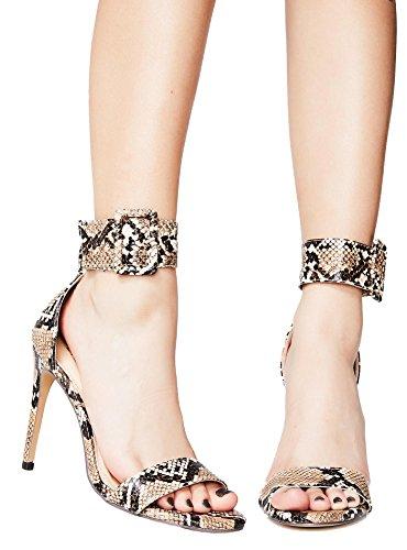 LilianaShoes Women's Golden Wide Buckle Accent Ankle Cuff Open Toe Single Sole High Stiletto Heel Pump Shoe (7.5, Brown Snake)