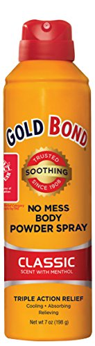 - Gold Bond No Mess Spray Powder, Classic Scent with Menthol, 7 Ounce, Moisture Absorbing, Itch Relieving, and Cooling Action of Gold Bond Powder in a Mess-Free Spray