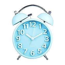 HENSE 4 Smart Nightlight Twin Bell Alarm Clock, Silent Non-ticking Quartz Analog Retro Vintage Nightstand Alarm Clock with Loud Alarm for Heavy Sleeper HA05 (Blue)