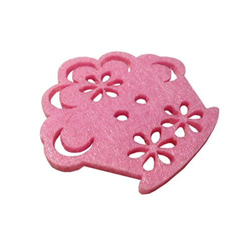 Kids Craft Felt Embellishments, Die Cut Felt Applique, Felt Wedding Flowers, Hair Clip Flowers, (Cup Cake)