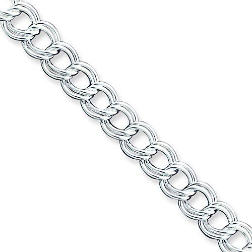 """Argent 925/1000 Double Link-Bracelet à charms - 8 """"- Fermoirs-Mousquetons JewelryWeb"""