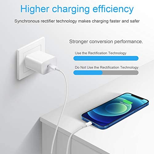 USB C Fast Charger for iPhone 12, 20W PD 3.0 USB C Wall Charger with 6FT Fast Charging Cable Compatible with iPhone 12/12 Mini/12Pro/12 Pro Max/11/11Pro/11 Pro Max/Xs Max/XR/X, iPad, AirPods and More