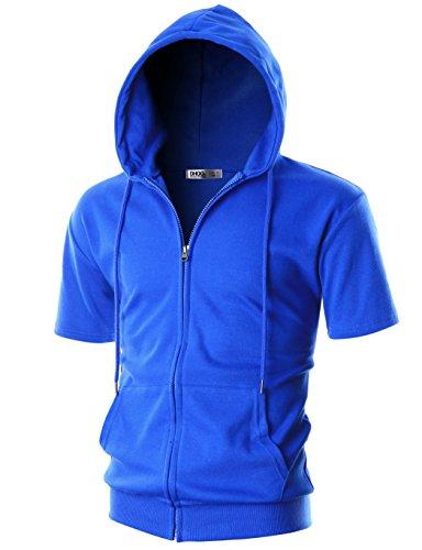 (OHOO Mens Slim Fit Short Sleeve Lightweight One-Tone Zip-up Hoodie with Kanga Pocket/DCF056-BLUE-M)