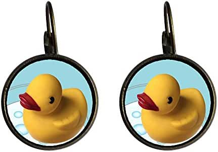 GiftJewelryShop Bronze Retro Style Swimming Rubber Ducky Photo Dangle Leverback Earrings 12mm Diameter