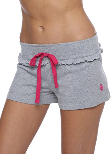 US Polo Assn. Womens Sleep/Lounge Ruffle Trims Shorts with Elastic Waistband Heather Grey Large