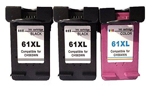 3 Pack HP 61XL Remanufactured Ink Cartridge 2 Black (CH563WN) and 1 Color (CH564WN) for HP Deskjet Series Printer by C&W