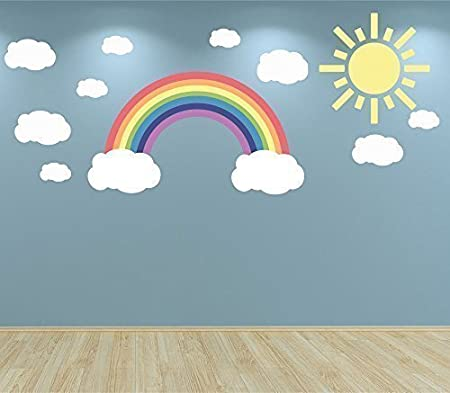 Full colour pastel rainbow clouds and sun wall sticker decal set nursery baby room playroom