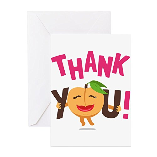 CafePress - Emoji Peach Thank You - Greeting Card (10-pack), Note Card with Blank Inside, Birthday Card Glossy