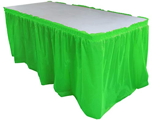 (Exquisite Solid Color 14 Ft. Plastic Tablecloth Skirt, Disposable Plastic Tableskirts - Lime Green - 6 Count )