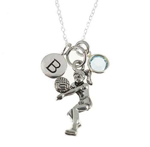 Amazon.com: Volleyball Girl Necklace in sterling silver