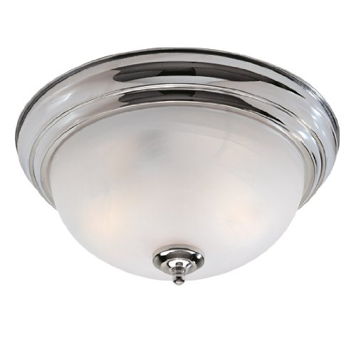 Livex Lighting 7118-05 North Port 2 Light Chrome Flush Mount with White Alabaster Glass - Black Finish White Alabaster Glass