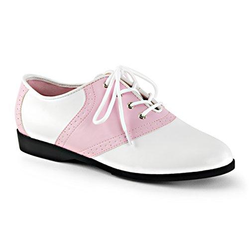 Funtasma Womens SADDLE-50 Flat Shoes, B.Pink-WHT Pu, Size - -