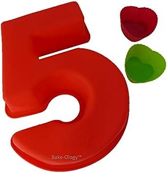 Grande 9 pulgadas (235 mm) Número 5 ✓ Número de silicona Moldes para hornear