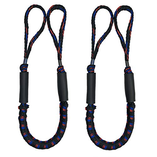 (Jranter Bungee Cord Mooring Rope Dock Lines Shock Cord Boat Docking Blue 3 ft Black Flower, 2 Pack)