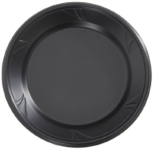 Finesse Microwarmable Round Plate, 9-Inch Diameter, Black (400-Count)