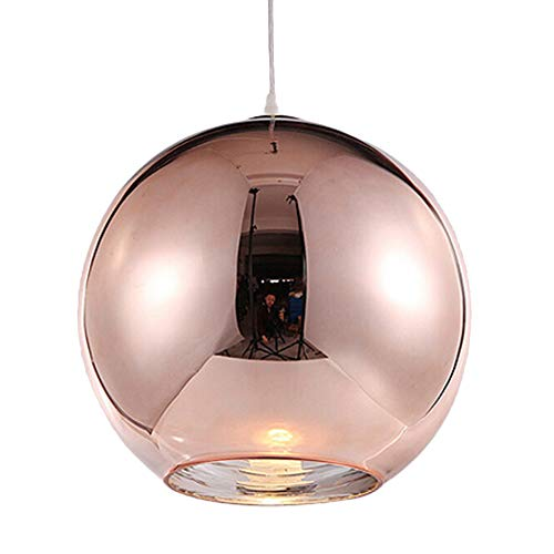 Motent Industrial Modern Mini Globe Rose Gold Glass Single Head Ceiling Lamp Shade Chromed Ball Pendant Light Fitting Set for Resturant Living Room Coffee House - 11.8 inches (Light Glass Pendant Rose)