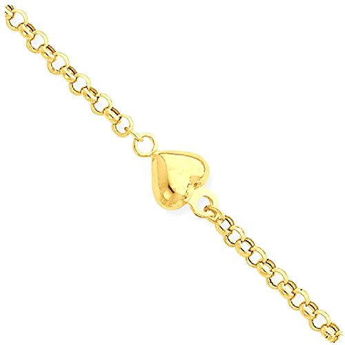 ICE CARATS 14k Yellow Gold Puff Heart 9 Inch 1 Adjustable Chain Plus Size Extender Anklet For Women Ankle Beach Bracelet by ICE CARATS