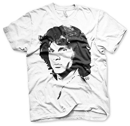 Jim Morrison Portrait - Jim Morrison Officially Licensed Portrait Mens T-Shirt (White), X-Large