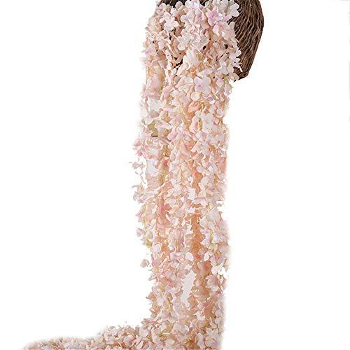 Pink Vine Floral (Crt Gucy 2 Pack 13 FT Artificial Hydrangea Flower Vine Wisteria Vines Cattleya Flowers Plants For Home Hotel Office Wedding Party Garden Craft Art Décor, Champagne)