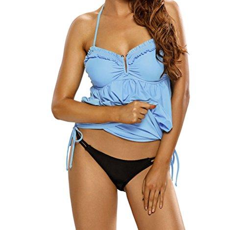 YFFaye Light Blue Halter Bikini Top One Piece Adjustable Swim Dress