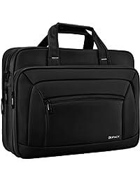 Expandable Laptop Briefcase 15.6 & 17 17.3 Inch Large Business Water Resistant Shoulder Bags Black