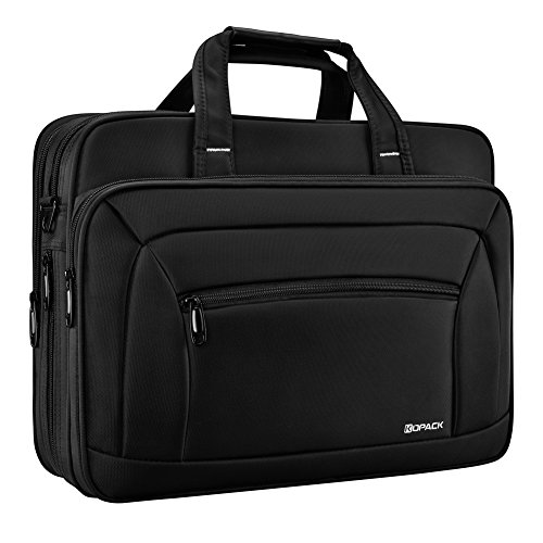 Kopack Laptop Briefcase Expandable Large Capacity 15.6 Inch Laptop Bag Water resistant Scratch-resistant Nylon Shoulder Messenger Bag Black - Over Double Compartment Laptop Bag