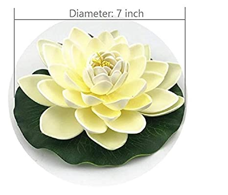 NAVADEAL 12PCS Artificial Floating Foam Lotus Flowers Ivory White Perfect for Patio Koi Pond Pool Aquarium Home Garden Wedding Party Holiday Decoration with Water Lily Pad Ornaments