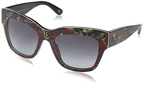 Dolce & Gabbana Almond Flowers Sunglasses DG4231 29388G Printing Roses On Black Grey Gradient 54 19 - On Printing Sunglasses