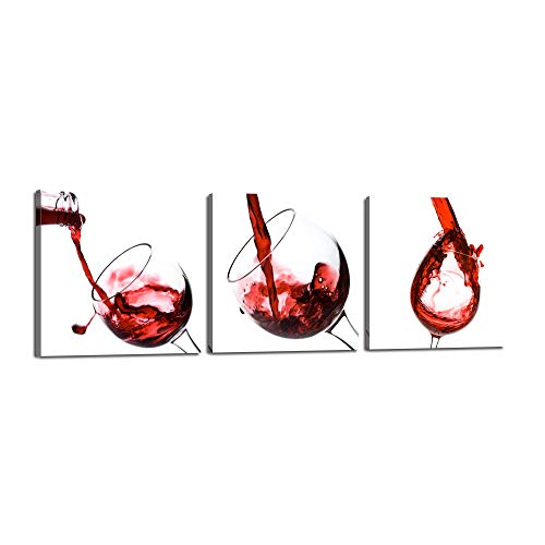 Red Wine in the Glass Canvas Splash Wine Cup 3 Panel Posters and Prints Modern Painting Picture Wall Art for Kitchen,Dining Room,Bar,Restaurant Home Decor Gallery-wrapped Art Set Framed(72''Wx24''H) -