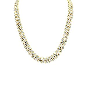 """Shop-iGold 18K Gold Finish Lab Diamond CZ Miami Cuban Link Chain Necklace Micro Pave Iced Out Mens Choker Necklace - Mens Jewelry, Men's Necklace, Iced Out Chain, Iced Out Jewelry (Gold 20"""")"""