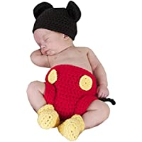 Jastore Photography Prop Baby Costume Cute Crochet Knitted Hat Cap Girl Boy Diaper Shoes Mouse