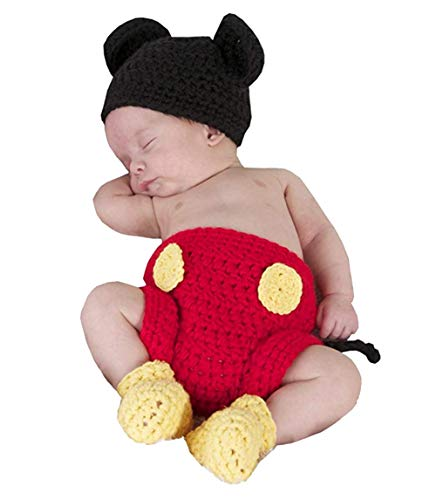 Jastore Photography Prop Baby Costume Cute Crochet Knitted Hat Cap Girl Boy Diaper Shoes Mouse]()