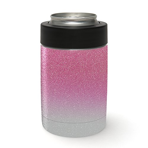 Aretty - Pink Silver Metallic Glitter Sparkle Vinyl Skin Decal Wrap for the Yeti Rambler Colster (Colster Not Included)